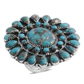 Santa Fe Style Mojave Blue Turquoise Sterling Silver Ring (Size 8.0) TGW 10.50 cts.