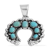 Santa Fe Style Kingman Turquoise Sterling Silver Horseshoe Pendant without Chain TGW 2.50 cts.