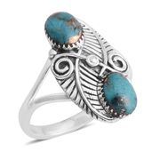 Santa Fe Style Mojave Blue Turquoise Sterling Silver Ring (Size 7.0) TGW 6.00 cts.