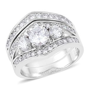 Simulated White Diamond Silvertone Set of 2 Ring (Size 6) TGW 2.20 cts.