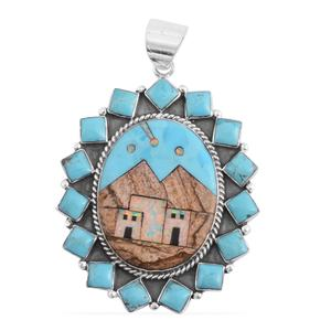 Santa Fe Style Kingman Turquoise, Multi Gemstone Sterling Silver Pendant without Chain TGW 18.00 cts.