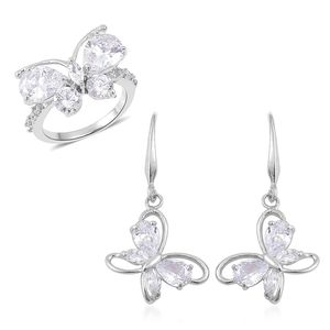 Simulated White Diamond Silvertone Butterfly Threader Earrings and Ring (Size 7) TGW 7.00 cts.