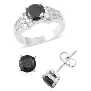 Simulated Black and White Diamond Silvertone Earrings and Ring (Size 6) TGW 3.00 cts.