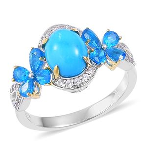 Arizona Sleeping Beauty Turquoise, Malgache Neon Apatite, White Zircon 14K YG Over and Sterling Silver Ring (Size 6.0) TGW 4.08 cts.
