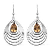 Brazilian Citrine Sterling Silver Earrings TGW 2.56 cts.