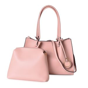 Light Pink Faux Leather Tote Bag Tote Bag (15.2x5.2x10.2 in) and Pouch Bag (10.6x2.40x9 in)
