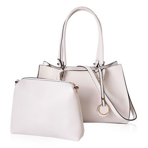 Cream Faux Leather Tote Bag (15.2x5.2x10.2 in) and Pouch Bag (10.6x2.40x9 in)
