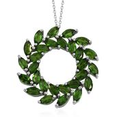Russian Diopside Platinum Over Sterling Silver Pendant With Chain (20 in) TGW 5.46 cts.