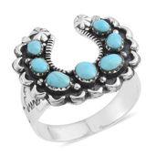 Santa Fe Style Kingman Turquoise Sterling Silver Studded Horseshoe Ring (Size 8.0) TGW 2.25 cts.