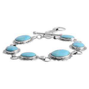 Santa Fe Style Kingman Turquoise Sterling Silver Bracelet (7.00 In) TGW 17.00 cts.