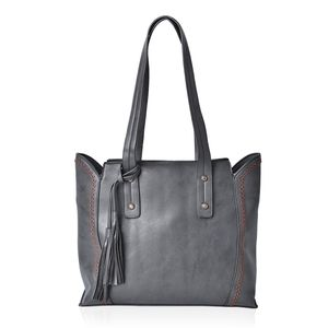 Black Faux Leather Tote Bag with Tassel (14x12.6x10.5 in)
