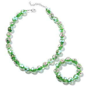 Green Murano Millefiori Glass, Green Glass Silvertone Beads Bracelet (Stretchable) and Necklace (20.00 In) TGW 894.00 cts.