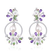 South Sea Pearl (9-9.5 in), Enameled Multi Gemstone Platinum Over Sterling Silver Floral Dangle Earrings TGW 5.15 cts.