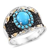 Arizona Sleeping Beauty Turquoise, Thai Black Spinel Black Rhodium, 14K YG and Platinum Over Sterling Silver Ring (Size 7.0) TGW 3.06 cts.