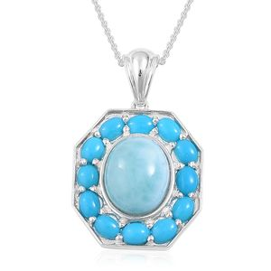 Inspire by Liz Fuller, Larimar, Arizona Sleeping Beauty Turquoise 935 Argentium Silver Pendant With Chain (18 in) TGW 6.10 cts.