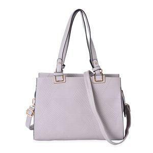 Light Gray Abstract Stripe Textured Pattern Faux Leather Tote Bag (13x6x9 in)