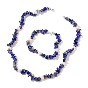 Lapis Lazuli, Freshwater Pearl Sterling Silver Bracelet (7.50 in) and Necklace (18.00 In) TGW 202.50 cts.