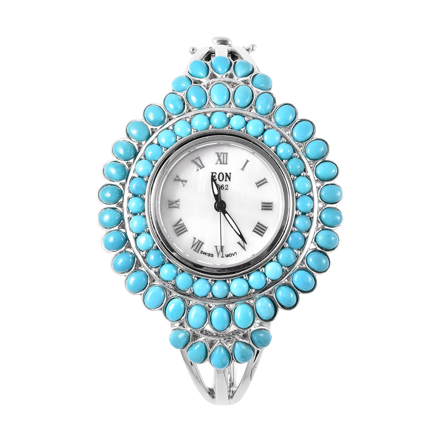 EON 1962 Arizona Sleeping Beauty Turquoise Swiss Movement Water Resistant Watch in Sterling Silver with Stainless Steel Back TGW 9.50 cts.