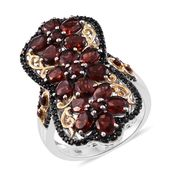 Mozambique Garnet, Thai Black Spinel 14K YG and Platinum Over Sterling Silver Floral Elongated Ring (Size 10.0) TGW 8.61 cts.