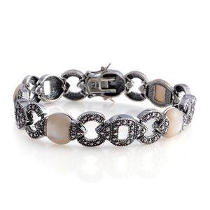 Mother of Pearl, Swiss Marcasite Black Oxidized Silvertone Bracelet (7.25 In) TGW 0.30 cts.