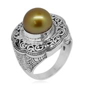 Bali Legacy Collection South Sea Golden Pearl Sterling Silver Openwork Ring (Size 10.0)