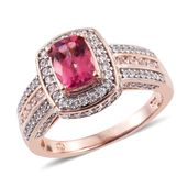 Rose Danburite, Cambodian Zircon 14K RG Over Sterling Silver Ring (Size 10.0) TGW 3.00 cts.