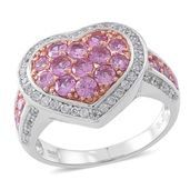 Madagascar Pink Sapphire, Cambodian White Zircon 14K RG Over Sterling Silver Heart Ring (Size 9.0) TGW 2.29 cts.