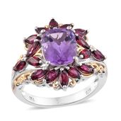 Rose De France Amethyst, Orissa Rhodolite Garnet 14K YG and Platinum Over Sterling Silver Ring (Size 10.0) TGW 7.20 cts.