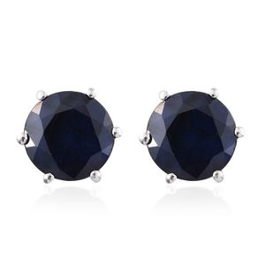 Kanchanaburi Blue Sapphire Platinum Over Sterling Silver Stud Earrings TGW 4.75 cts.