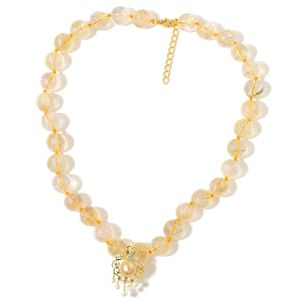 South Sea Golden Pearl (10-10.5 mm), Multi Gemstone 14K YG Over Sterling Silver Fancy Pendant With Beaded Necklace (20 in) TGW 358.81 cts.