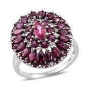 Rose Danburite, Orissa Rhodolite Garnet Platinum Over Sterling Silver Ring (Size 5.0) TGW 5.45 cts.