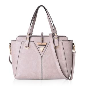 Gray Faux Leather Tote Bag with Standing Studs and Removable Strap (13.5x5x10 in)