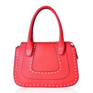 Red Studded Faux Leather Structure Shoulder Bag (14.5x4.5x10 in)