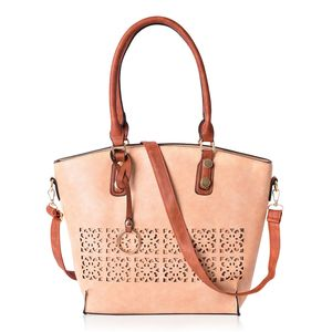 Tan and Brown Faux Leather Tote Bag
