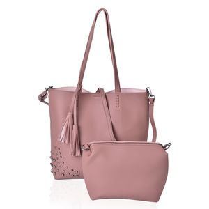 Mauve Faux Leather Tote Bag (15.2x11.6x12.2 in) and Pouch Bag (8.2x4x7 in)