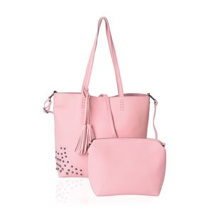 Pink Faux Leather Tote Bag (15.2x11.6x12.2 in) and Pouch Bag (8.2x4x7 in)