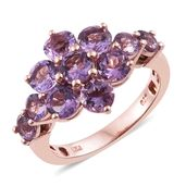 Rose De France Amethyst 14K RG Over Sterling Silver Ring (Size 5.0) TGW 4.05 cts.