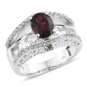 Mozambique Garnet, Russian Diopside, White Topaz Platinum Over Sterling Silver Bridge Ring (Size 5.0) TGW 5.37 cts.