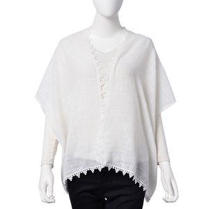 White 100% Bamboo Cotton Lace Border Kimono (One Size)