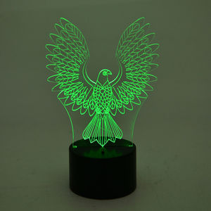 3D Eagle Image on LED Light Display Base (3AA Batteries Not Included) (8x3 in)