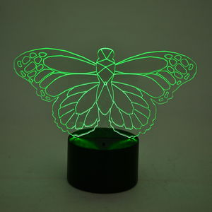 3D Butterfly Image on LED Light Display Base (3AA Batteries Not Included) (6x3 in)