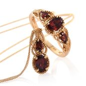 Mozambique Garnet 14K YG Over Sterling Silver Ring (Size 5) and Pendant With Chain (20 in) TGW 2.80 cts.