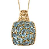 Madagascar Paraiba Apatite 14K YG Over Sterling Silver Pendant With Chain (20 in) TGW 3.78 cts.