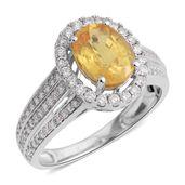 TONY'S PICK ILIANA 18K WG Yellow Sapphire, Diamond Ring (Size 8.0) TDiaWt 0.51 cts, TGW 2.17 cts.