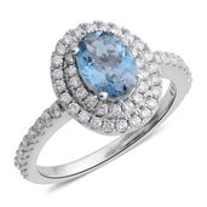 Year End Clearance Deal ILIANA 18K WG Santa Maria Aquamarine, Diamond Ring (Size 5.0) TDiaWt 0.46 cts, TGW 1.16 cts.
