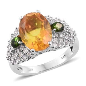 Sphaleros Quartz, Russian Diopside, Cambodian Zircon Platinum Over Sterling Silver Ring (Size 6.0) TGW 7.45 cts.