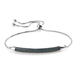 Dan's Jewelry Selections Blue Diamond (IR) Accent Blue Rhodium & Platinum Over Sterling Silver Bolo Bracelet (9.50 In) (Adjustable)