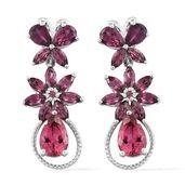 Rose Danburite, Orissa Rhodolite Garnet Platinum Over Sterling Silver Butterfly Floral Earrings TGW 8.49 cts.