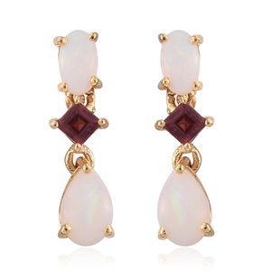 Australian White Opal, Orissa Rhodolite Garnet 14K YG Over Sterling Silver Earrings TGW 1.12 cts.