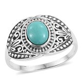Artisan Crafted Sonoran Blue Turquoise Sterling Silver Men's Ring (Size 9.0) TGW 1.70 cts.